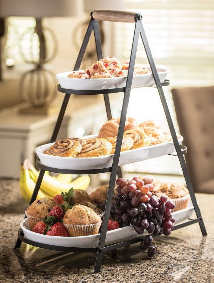 New 3 Tier Buffet Server 3 Stoneware Serving Platter Trays Metal Stand Catering