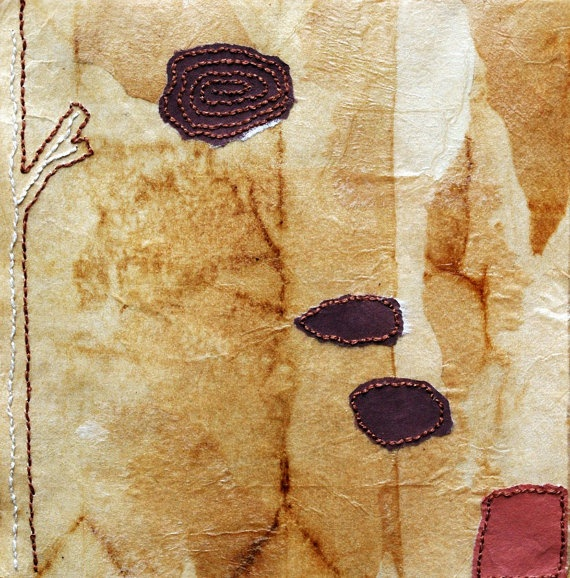 Hand Stitched and Collaged Teabags / Autumn by missouribendstudio, $65.00