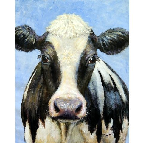 Holstein Cow Original Acrylic Painting, 16x20 Stretched Canvas, Cow Art by Dottie Dracos, Farm Animals