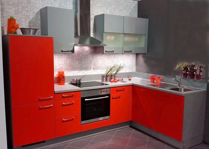 Details zu einbauküche mankawin 3 rot arktisgrau küchenzeile l form 305x185 cm mit e geräte