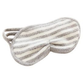 Striped cashmere eye mask in granite and white.  Product: Eye maskConstruction Material: 100% CashmereColor: Grey and whiteFeatures: Striped pattern Cleaning and Care: Hand wash or dry clean only