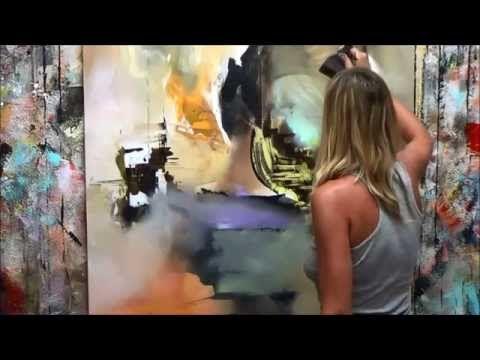 """Démonstration de peinture abstraite (7) Elisabeth - Toile """"Vibration"""" - YouTube"""