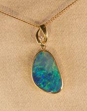 Opal Doublet gold & diamond Pendant & necklace