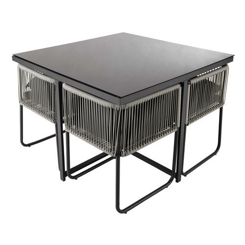 Tuintafel en 4 stoelen, kunststof draad en zwarte bekleding, lengte 107 cm