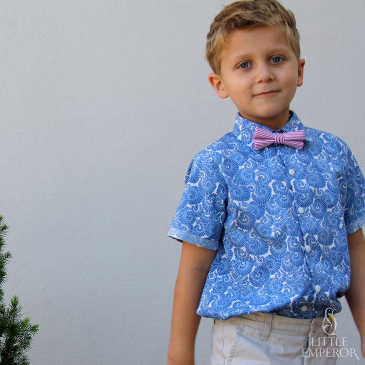 Dressed for a summer party, Mason wears Little Emperor shirt and Foxy Fellow bow tie. #boyfashion #handmadefashion #australianmade #boyfashionista #boy