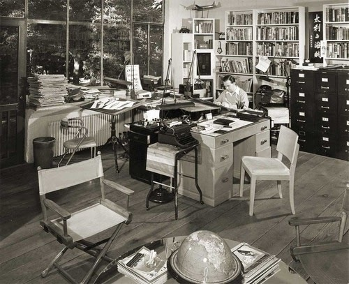 Milton Caniff in his studio (American Cartoonist) via 'Drawn'