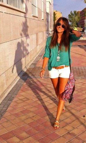 I'm rethinking my aversion to white shorts right about now...cute color combo with the teal quarter sleeve shear blouse