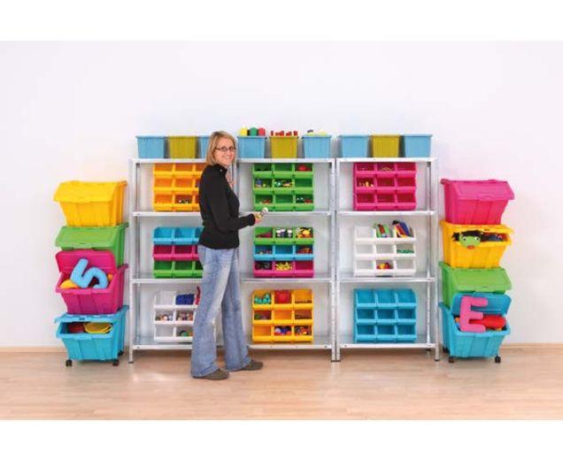 Große Stapelbox mit Klappdeckel in 4 Farben - edumero.de tolle stabile, stabelbare und bunte Boxen mit Deckel. Perfekt um größere Spielsachen zu verstauen und sehen dabei noch klasse aus :)