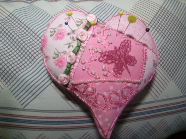 Crazy Patchwork Heart Pincushion