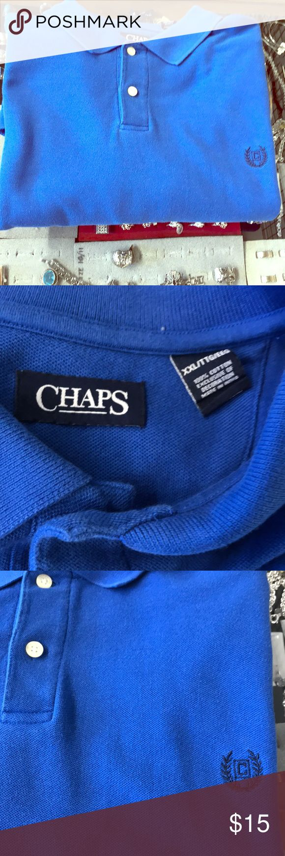 Men's CHAPS Shirt Collar T-Shirt Authentic two buttons short sleeves Casual Designer Gently worn A1 Shape 100% Cotton Made In 🇮🇳 ❤️Happy Poshing❤️ CHAPS Shirts Tees - Short Sleeve