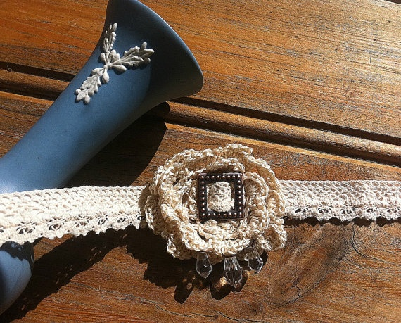 Bridal Lace Choker Necklace with Buckle and Beads. $110.00, via Etsy.