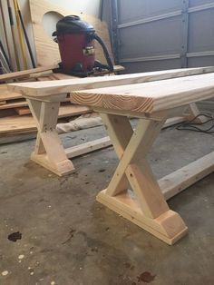 DIY X-Brace Bench.  Great woodworking project.  Can't wait to try this project.