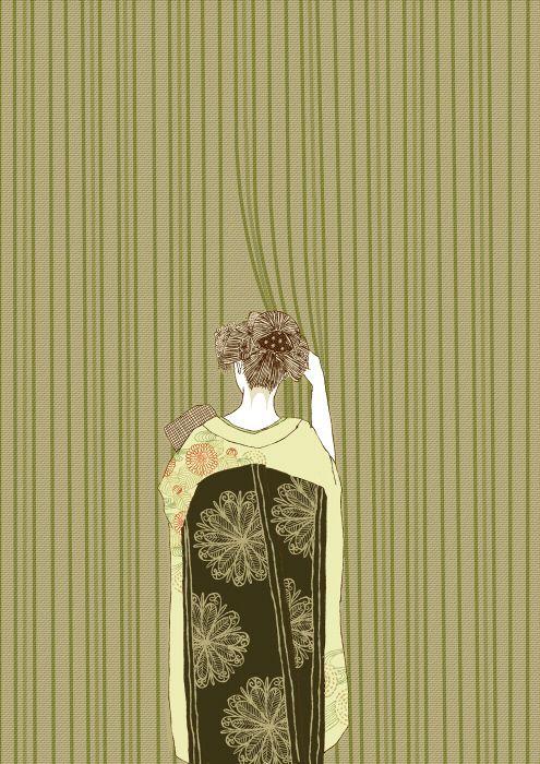 Beautiful noren illustration.