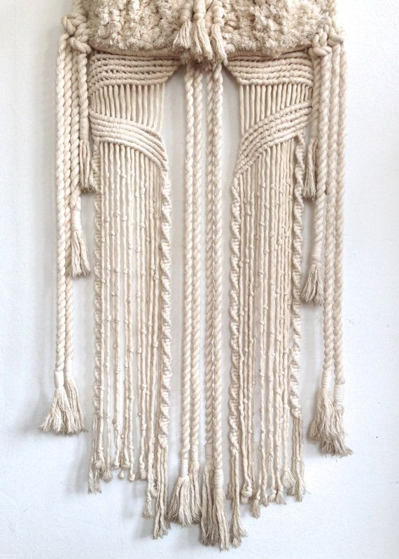 Large Vintage Woven Wall Hanging Bohemian Mid by CrolAndCo