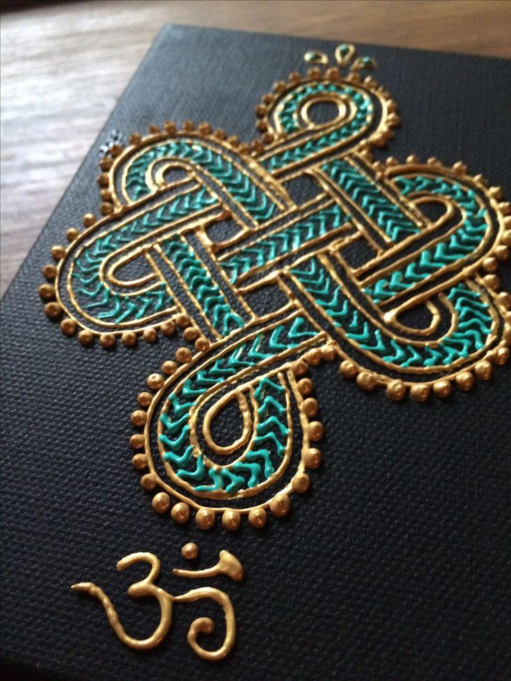 ૐNudo tibetano. Acrílico sobre lona por Alheña sobre Hudsonૐ Tibetan knot. Acrylic on canvas by Henna on Hudson