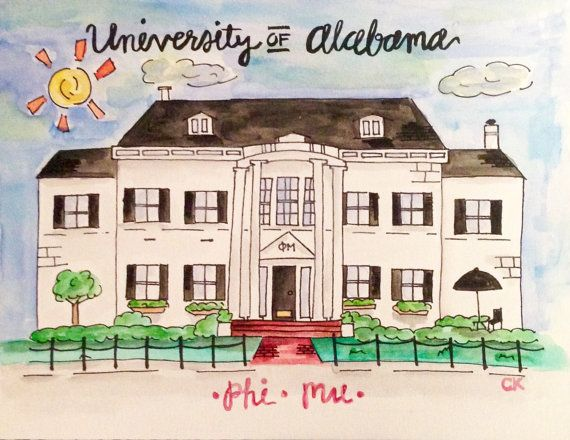 Custom Landmark Painting by CityKreations on Etsy  Sorority house-University of Alabama Phi Mu