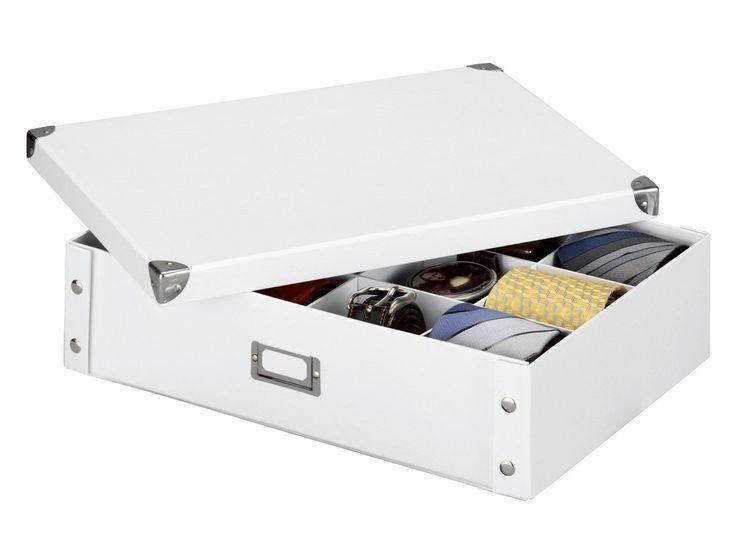zeller 17769 boite de rangement en carton pour cravates et. Black Bedroom Furniture Sets. Home Design Ideas