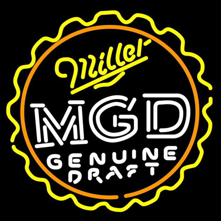 Miller MGD Bottle Cap Neon Signs, Miller MGD Neon Beer Signs & Lights | Neon Beer Signs & Lights. Makes a great gift. High impact, eye catching, real glass tube neon sign. In stock. Ships in 5 days or less. Brand New Indoor Neon Sign. Neon Tube thickness is 9MM. All Neon Signs have 1 year warranty and 0% breakage guarantee.