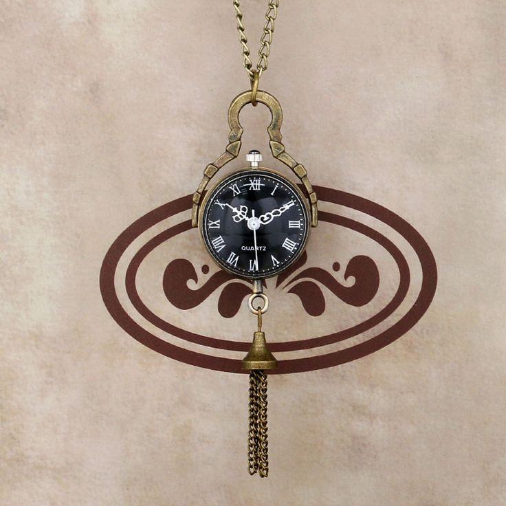 """Лучший продукт из Китая - купить """"Ретро Classiic стеклянный шар формы рыбий глаз черный Циферблат ожерелье карманные часы женщины подарок"""" всего за 3.47 долл."""