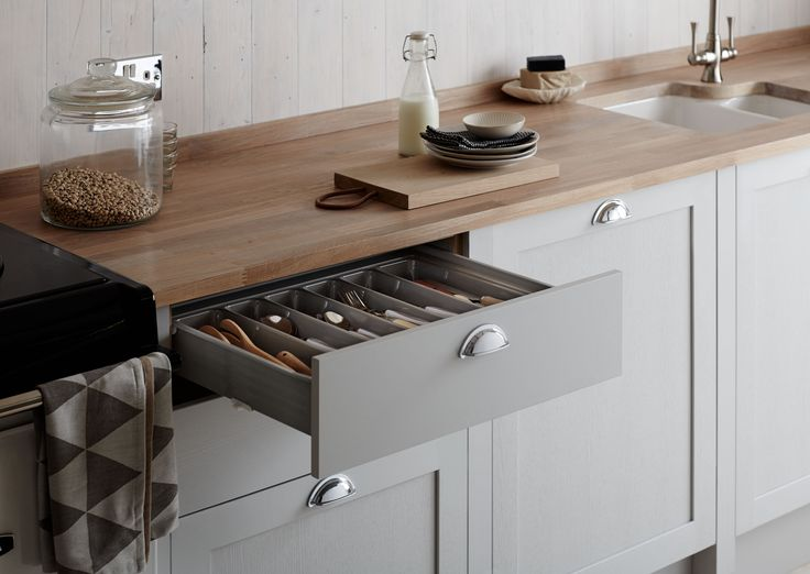 The Allendale Dove Grey Kitchen, part of the Shaker Collection, by Howdens Joinery.