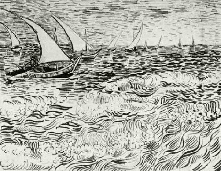 A Fishing Boat at Sea - Vincent van Gogh. Completed by : 1888, Arles, Bouches-du-Rhone, France, Post Impressionism, Genre : Marina, Ink on paper, Private Collection. | via wikipaintings.org