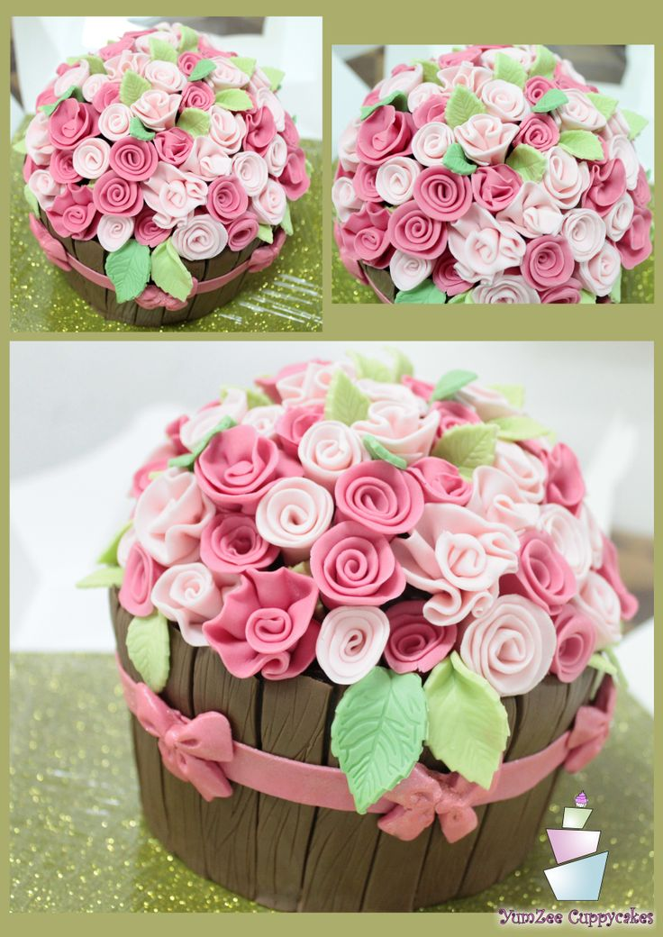 Flower pot Cake..!  For more designs visit :https://www.facebook.com/YumZeeCuppycakes