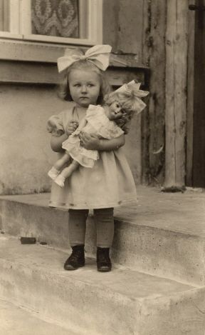 Little girl with her doll in the 1940's. This looks just like me when I was a little girl!!!!!