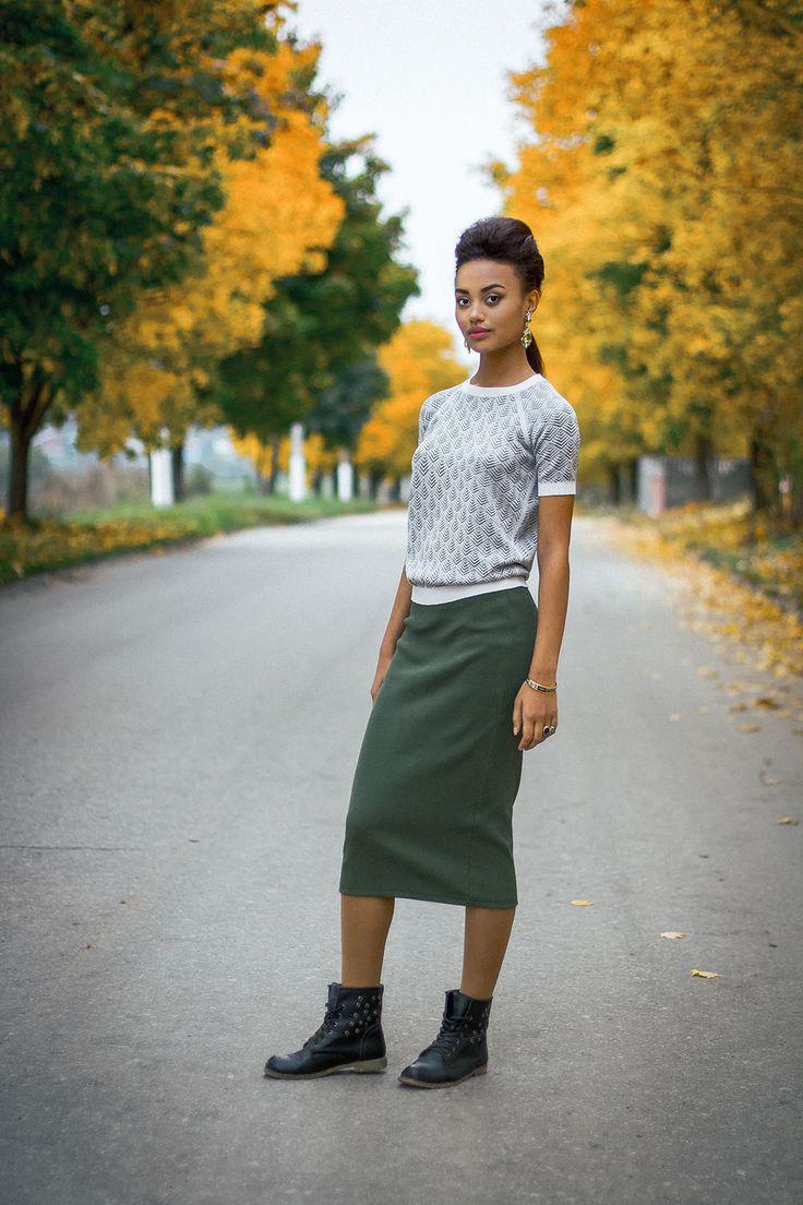 Купить Болотная юбка-карандаш - хаки, юбка, юбка карандаш, юбка-карандаш, юбка по фигуре