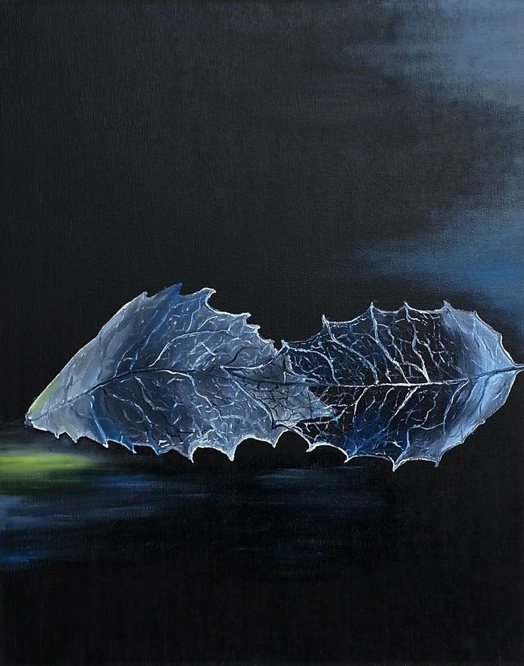 Leaves in blue. Oil on canvas.Size : 50 x 40 cm
