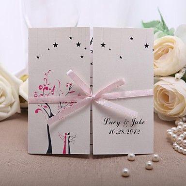 rosa sløyfe bryllup invitasjon - sett av 50 – NOK kr. 331