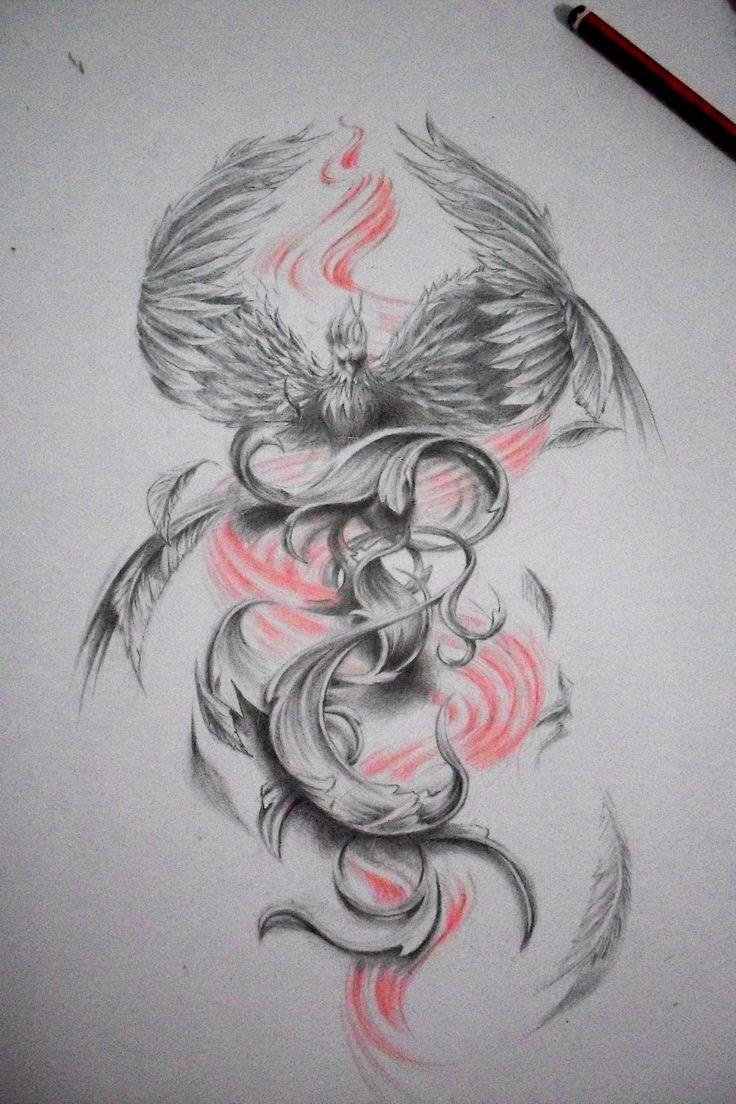 phoenix draw, tattoo design