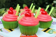 Inspired by Sonic's Cherry Limeade beverage, I present my version of Cherry Limeade cupcakes. The lime-flavored cake is infused with a limeade sugar syrup and topped with a cherry buttercream frosting. Holy moly!