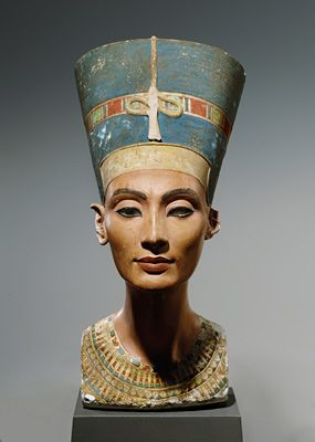 As shown above is a head statue of the bust of  Nefertiti, who is an icon to egypt, with a headpiece that.