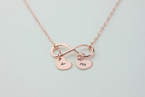 Personalized Infinity necklace. initials rose gold by dorocy, $36.50. Bobbie Riley, this made me think of you.
