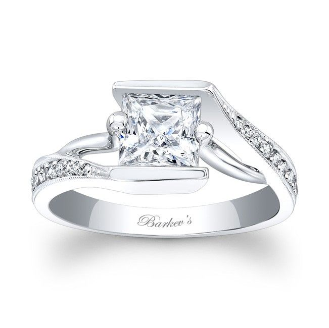 Fabulous Princess Cut Engagement Ring LW A bold contemporary twist on a vintage bypass ring