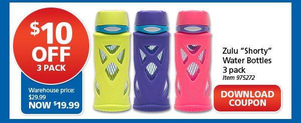 """Zulu """"Shorty"""" Water Bottles 3 Pack - Download Coupon"""