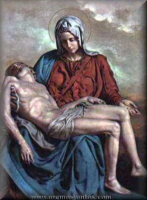 Blessed Mother holding her Son in her arms. +JMJ+
