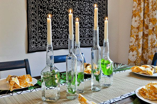 Simple and Elegant Upcycled Centerpiece   http://www.celebrations.com/content/simple-and-inexpensive-dinner-party-ideas