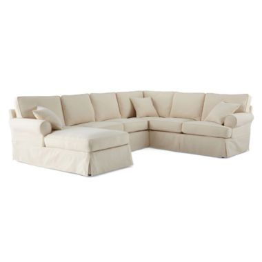 Friday Brushed Canvas 5-pc. Left-Arm Chaise Sectional found at @JCPenney  sc 1 st  Pinterest : canvas sectional sofa - Sectionals, Sofas & Couches