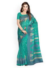 Sari Swarg azul y verde Bhagalpuri arte impreso seda sari