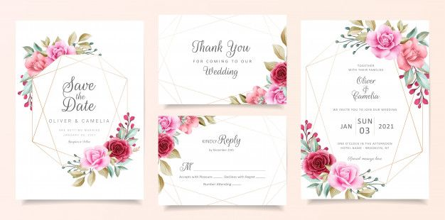 Elegant Wedding Invitation Card Template Set With Geometric Floral Frame Floral Wedding Invitation Card Elegant Wedding Invitation Card Wedding Invitation Cards