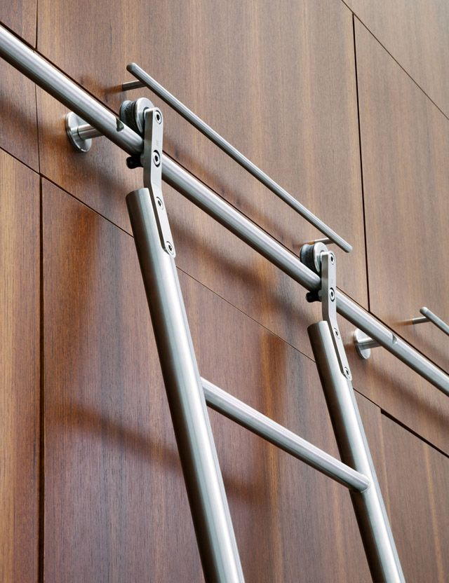 Library ladder for high kitchen cabinets