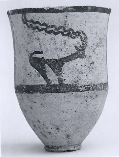 Cup decorated with horned animals, Period: Chalcolithic Date: ca. early 4th millennium B.C. Geography: Central Iran Medium: Ceramic, paint