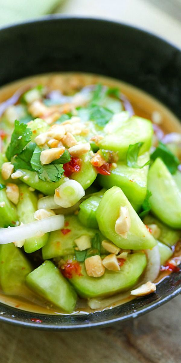 Thai Cucumber Salad - easiest and best homemade Thai cucumber salad recipe that is better than your favorite Thai restaurants, guaranteed | http://rasamalaysia.com