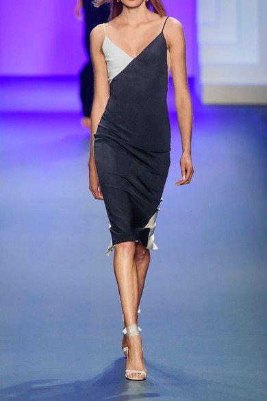 Cushnie et Ochs - Leah Color-block Stretch-knit Dress - Midnight blue - US10