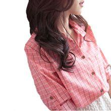 Novo Design pequeno verifique camisas para mulheres 2015 outono e primavera feminino roupas de manga longa xadrez clássico camisas(China (Mainland))