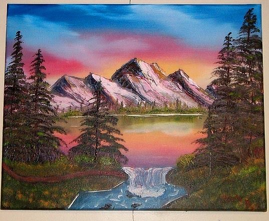 """Pastel Mountain Lake"" 16 x 20 marine/landscape depicting a colorful sky over a mountain reflecting on a lake with a small waterfall. The medium here is Oil.  In Thomas Booth Jr Gallery"