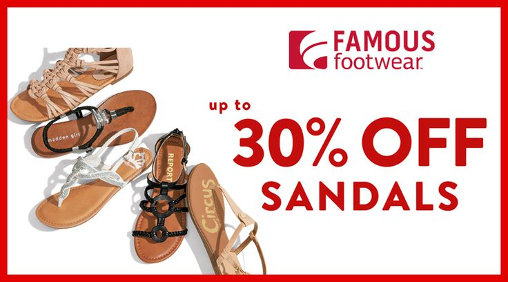 Online Only! Up to 30% #Off Sandals.  Store : #FamousFootwear Scope: Entire Store   Ends On : 04/09/2017  Get more deals: http://www.geoqpons.com/Famous-Footwear-coupon-codes  Get our Android mobile App: https://play.google.com/store/apps/details?id=com.mm.views    Get our iOS mobile App: https://itunes.apple.com/us/app/geoqpons-local-coupons-discounts/id397729759?mt=8