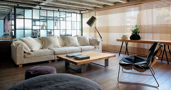Faliro Loft: Warehouse loft in Athens with Japanese aesthetics beautiful designs by Patricia Urquiola and the architectural firm Esé Studio.
