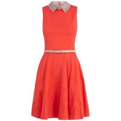 Almari Laser Cut Collar Dress
